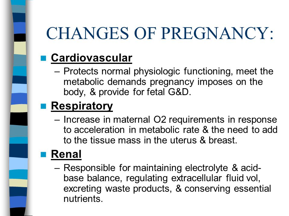 CHANGES OF PREGNANCY: Cardiovascular Respiratory Renal
