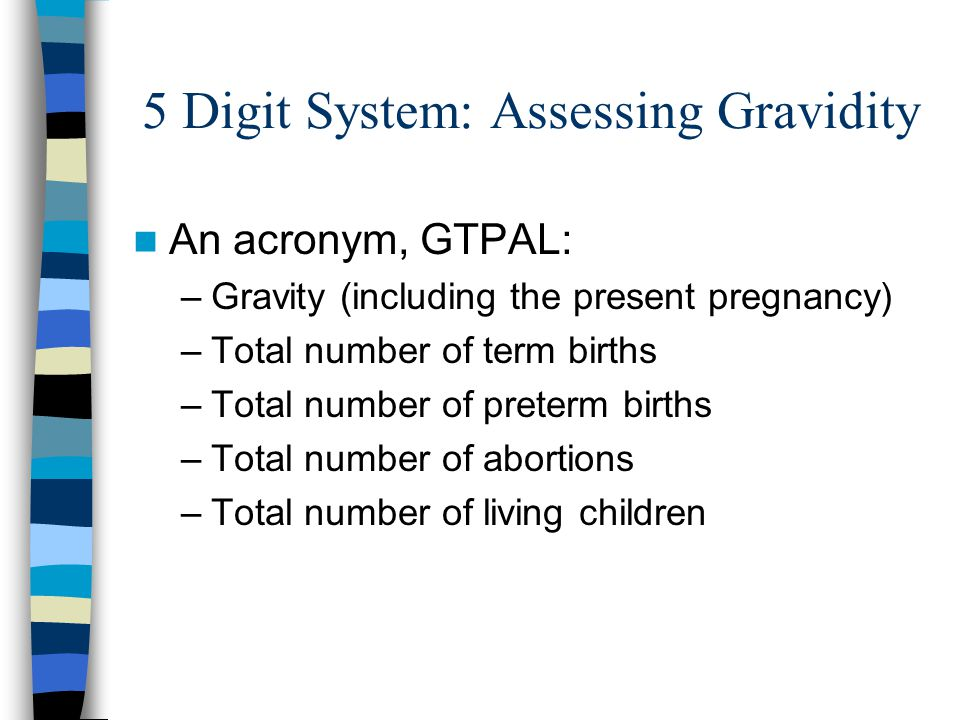 5 Digit System: Assessing Gravidity