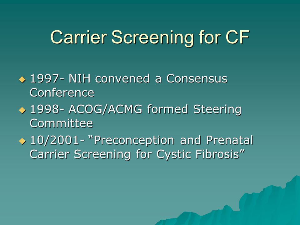 Carrier Screening for CF