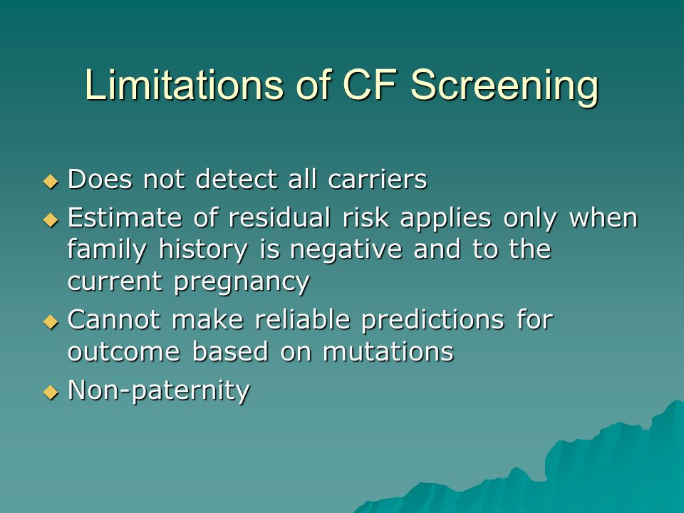 Limitations of CF Screening