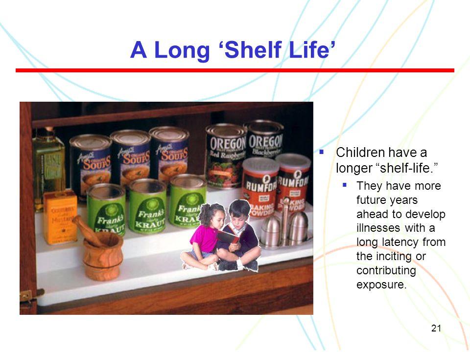A Long 'Shelf Life' Children have a longer shelf-life.