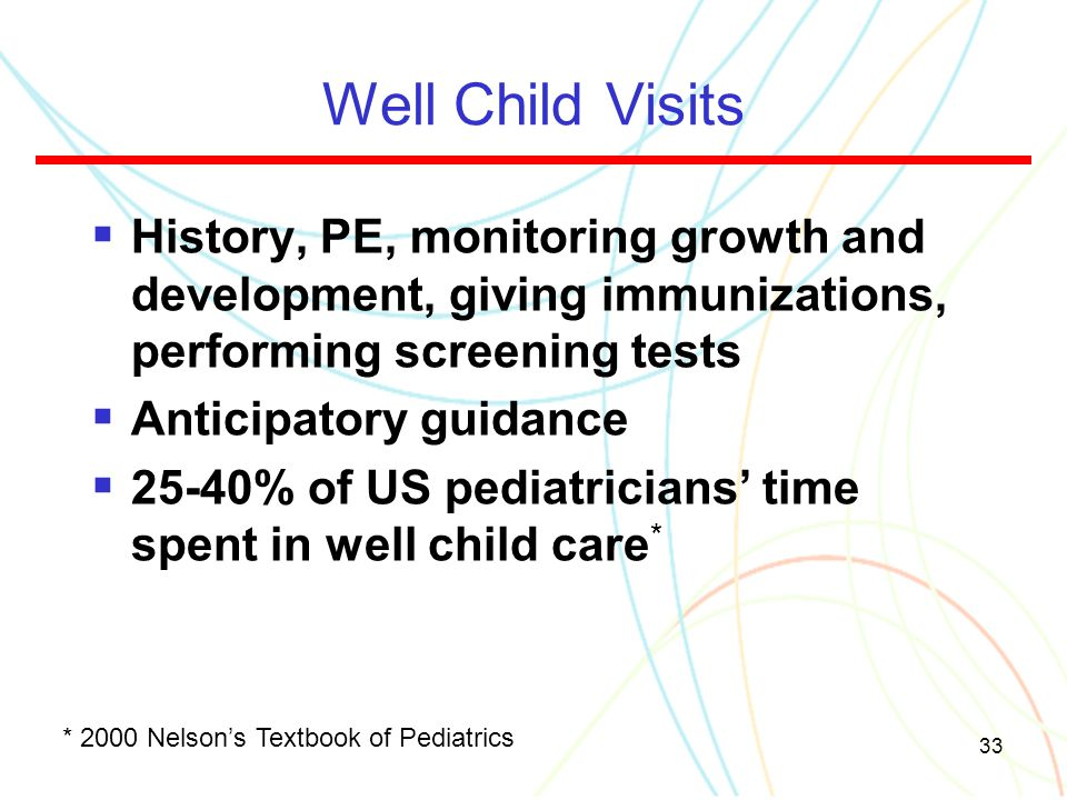 Well Child Visits History, PE, monitoring growth and development, giving immunizations, performing screening tests.