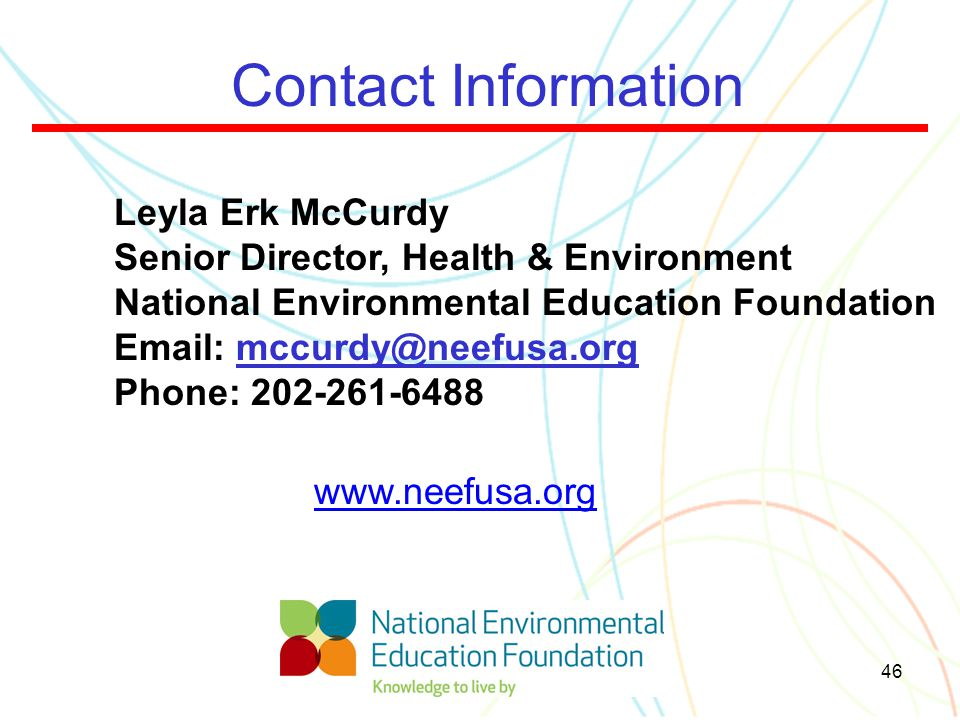 Contact Information Leyla Erk McCurdy. Senior Director, Health & Environment. National Environmental Education Foundation.