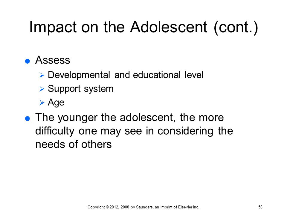 Impact on the Adolescent (cont.)