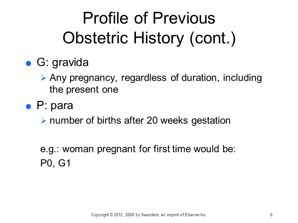 Profile of Previous Obstetric History (cont.)