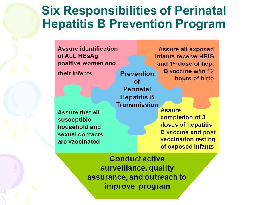 Six Responsibilities of Perinatal Hepatitis B Prevention Program