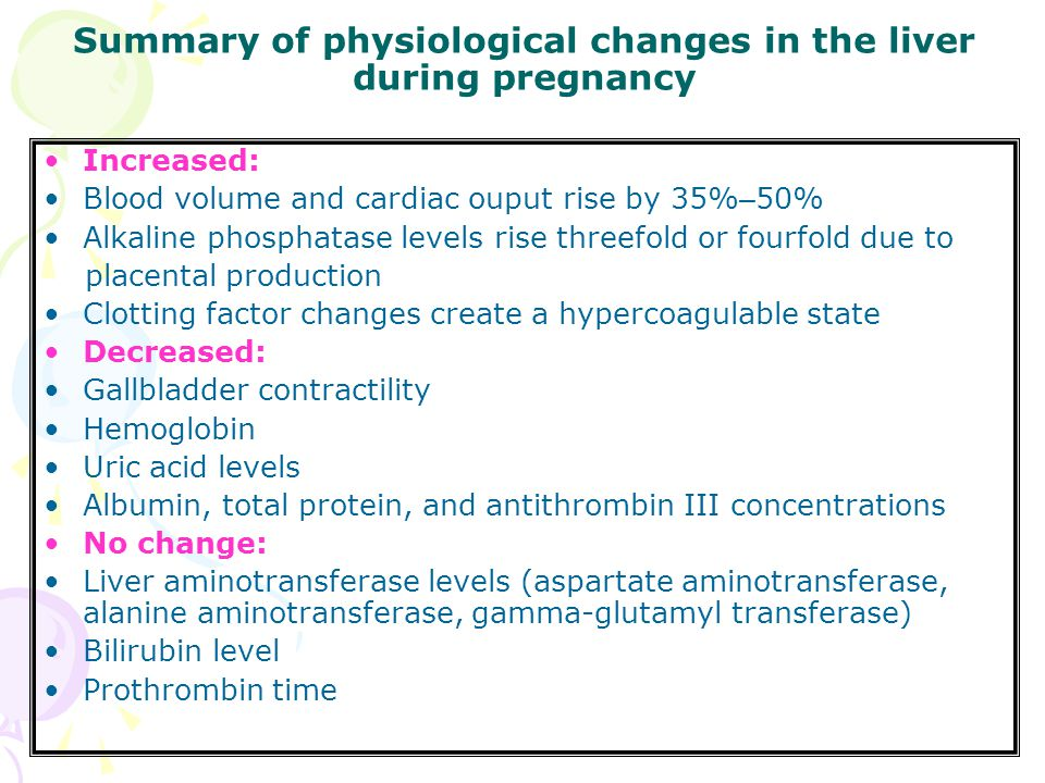 Summary of physiological changes in the liver during pregnancy