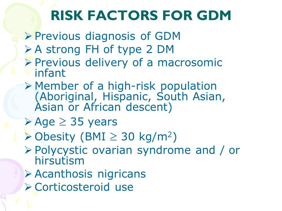 RISK FACTORS FOR GDM Previous diagnosis of GDM