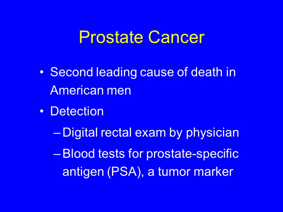 Prostate Cancer Second leading cause of death in American men