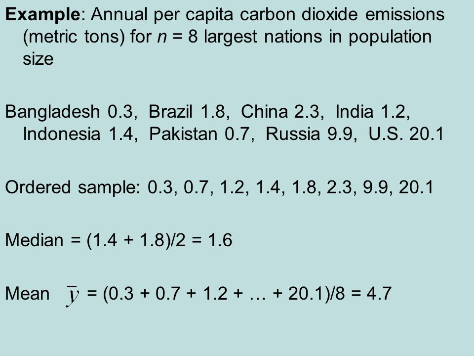 Example: Annual per capita carbon dioxide emissions (metric tons) for n = 8 largest nations in population size