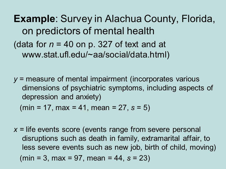 Example: Survey in Alachua County, Florida, on predictors of mental health