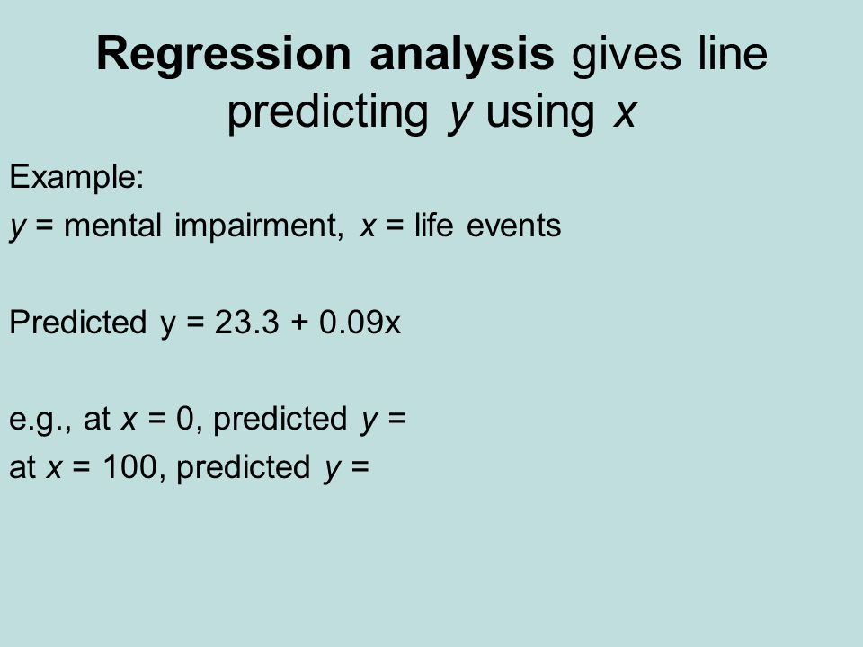 Regression analysis gives line predicting y using x