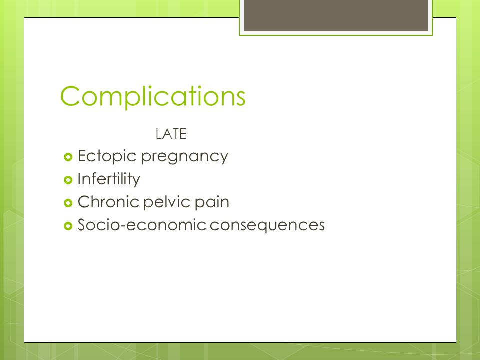 Complications Ectopic pregnancy Infertility Chronic pelvic pain