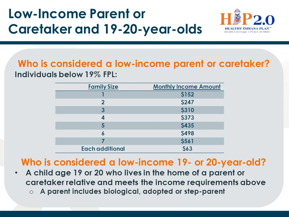 Low-Income Parent or Caretaker and 19-20-year-olds