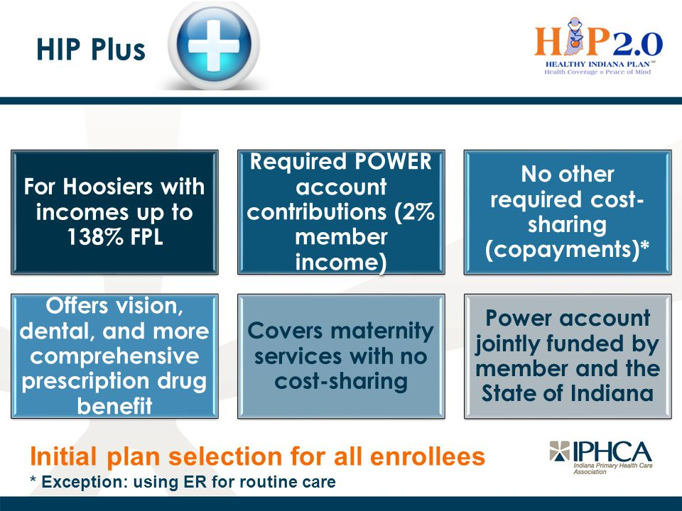 HIP Plus Initial plan selection for all enrollees