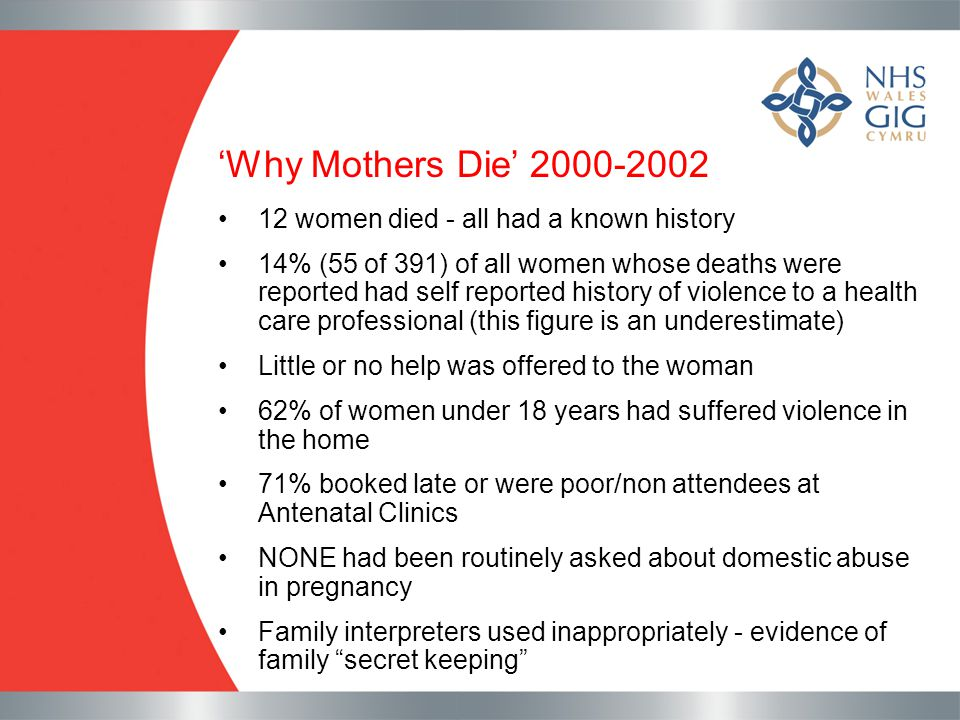 'Why Mothers Die' 2000-2002 12 women died - all had a known history