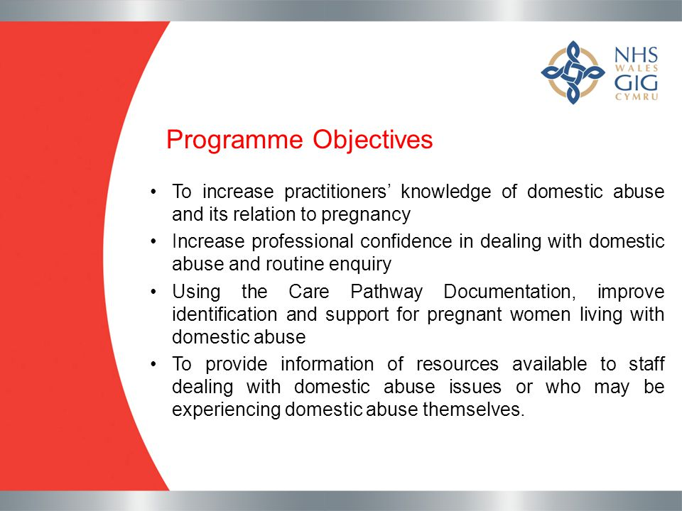 Programme Objectives To increase practitioners' knowledge of domestic abuse and its relation to pregnancy.