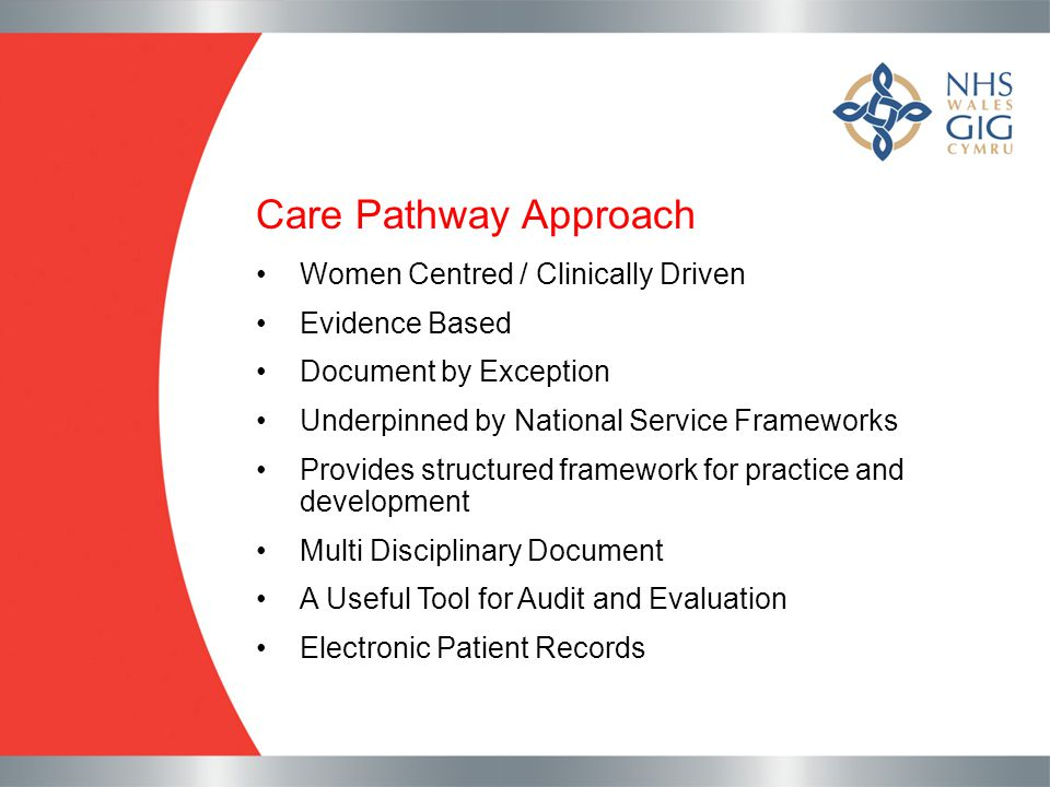 Care Pathway Approach Women Centred / Clinically Driven Evidence Based