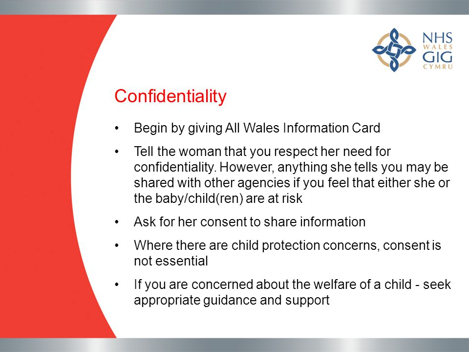 Confidentiality Begin by giving All Wales Information Card
