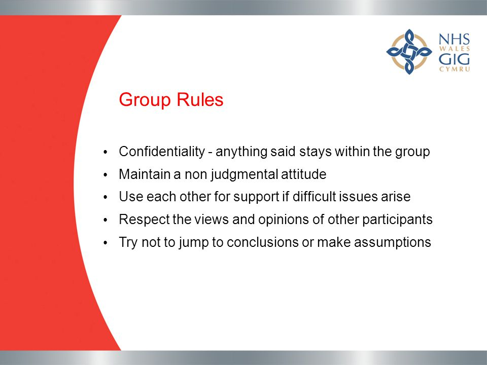 Group Rules Confidentiality - anything said stays within the group