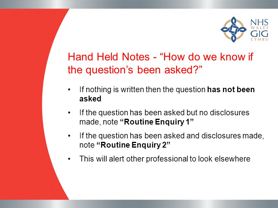 Hand Held Notes - How do we know if the question's been asked
