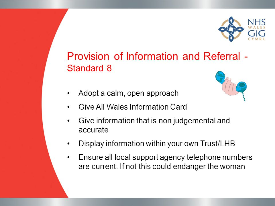 Provision of Information and Referral - Standard 8