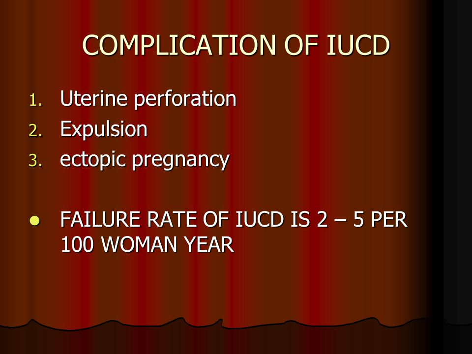 COMPLICATION OF IUCD Uterine perforation Expulsion ectopic pregnancy