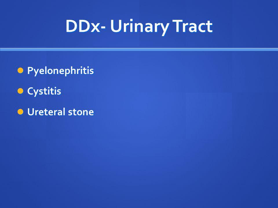 DDx- Urinary Tract Pyelonephritis Cystitis Ureteral stone