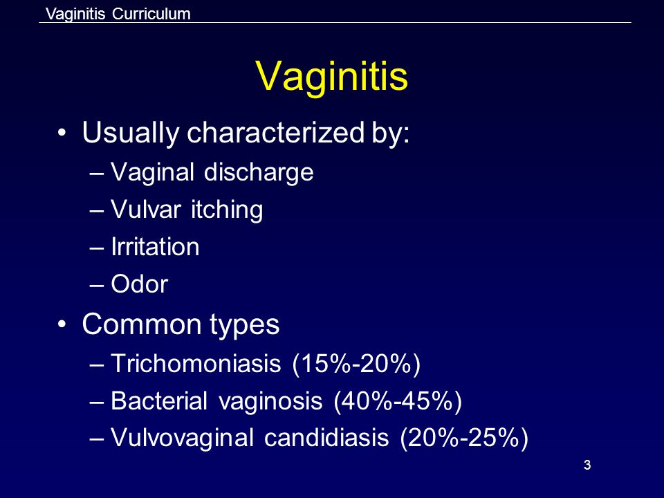 Vaginitis Usually characterized by: Common types Vaginal discharge