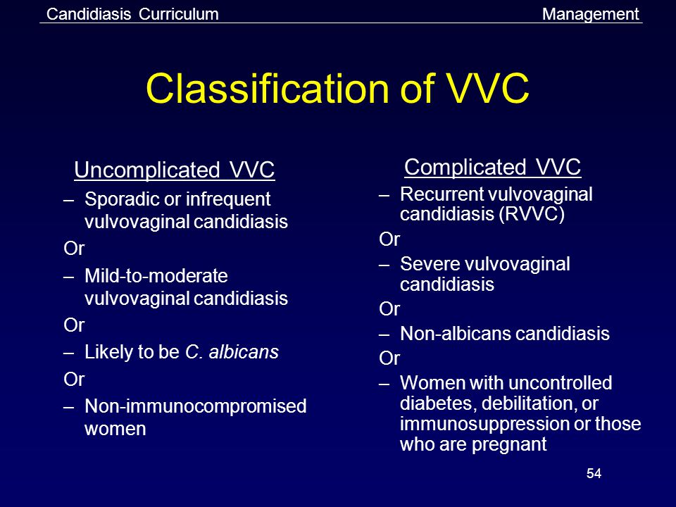 Classification of VVC Uncomplicated VVC Complicated VVC
