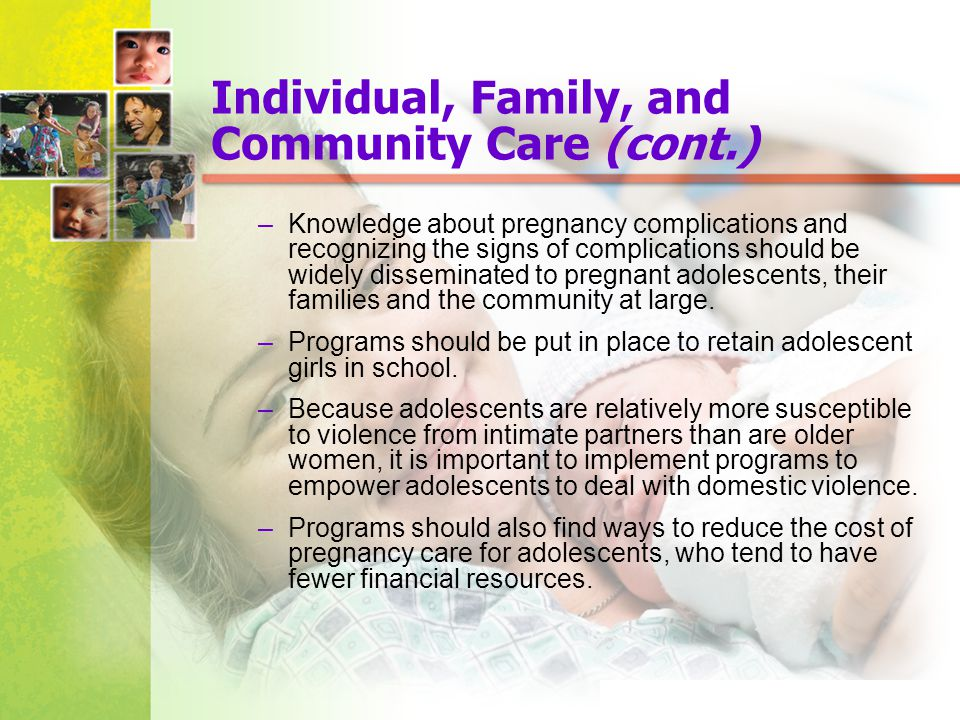 Individual, Family, and Community Care (cont.)