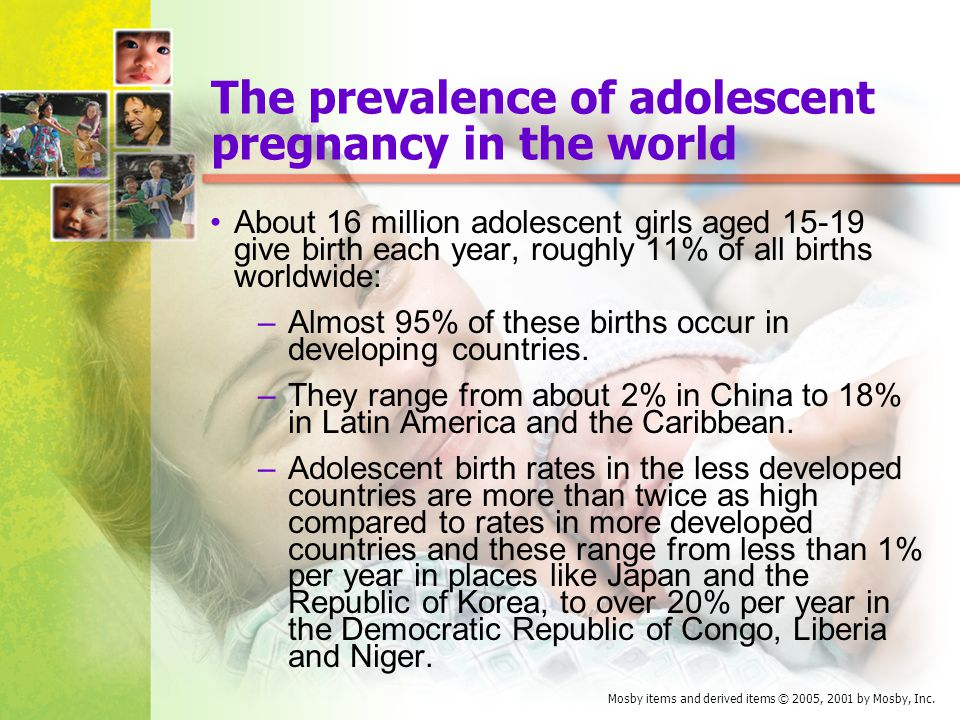 The prevalence of adolescent pregnancy in the world
