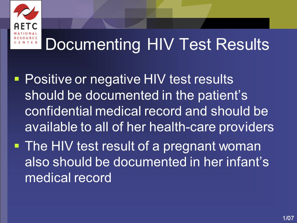 Documenting HIV Test Results