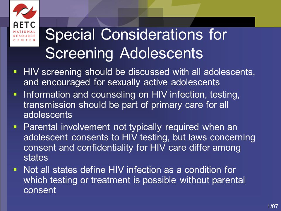 Special Considerations for Screening Adolescents