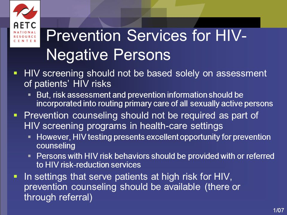 Prevention Services for HIV-Negative Persons