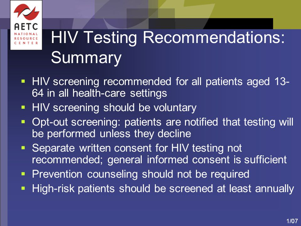 HIV Testing Recommendations: Summary