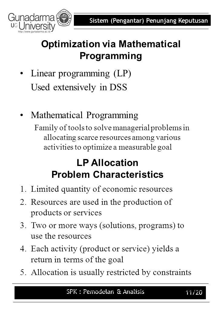 Optimization via Mathematical Programming