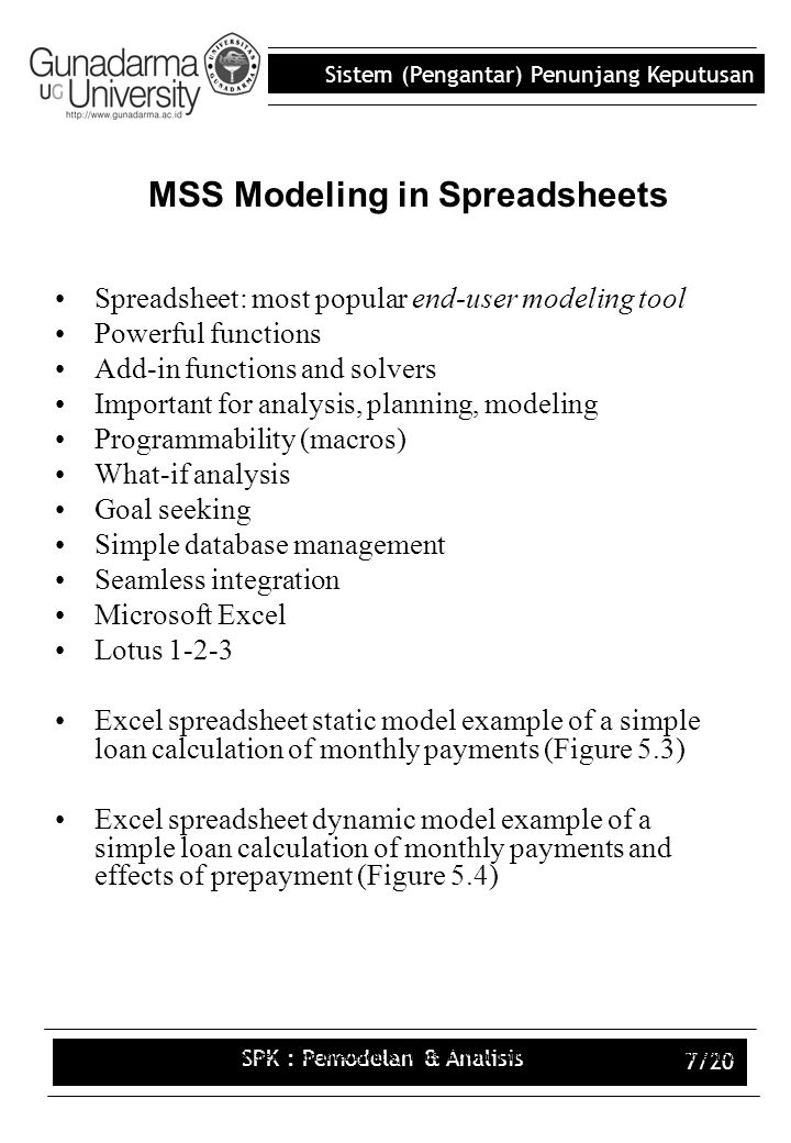 MSS Modeling in Spreadsheets