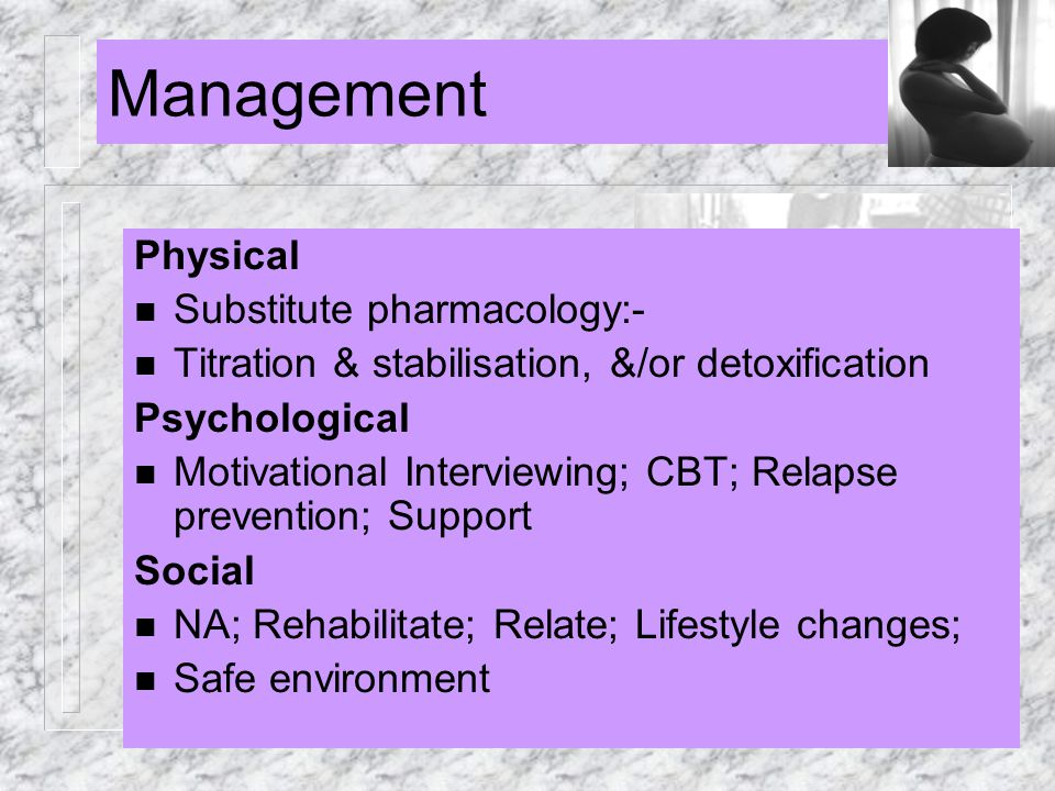 Management Physical Substitute pharmacology:-