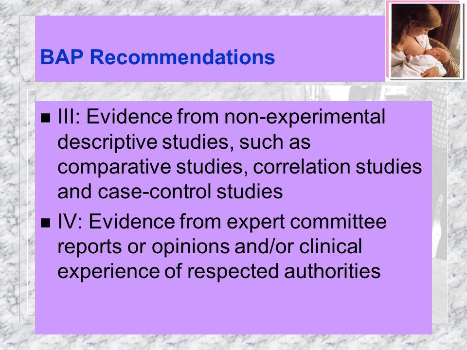 BAP Recommendations