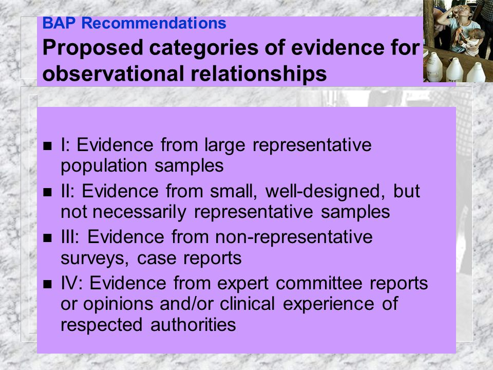 BAP Recommendations Proposed categories of evidence for observational relationships
