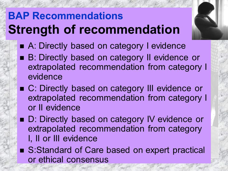 BAP Recommendations Strength of recommendation