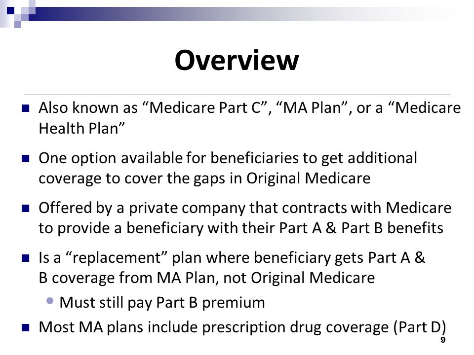 Overview Also known as Medicare Part C , MA Plan , or a Medicare Health Plan