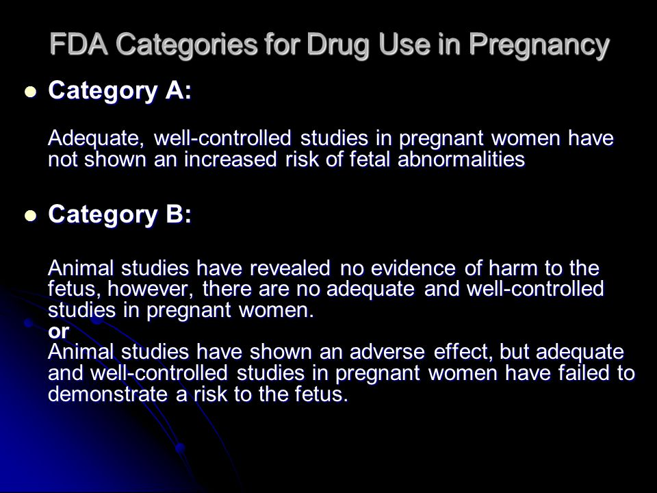 FDA Categories for Drug Use in Pregnancy