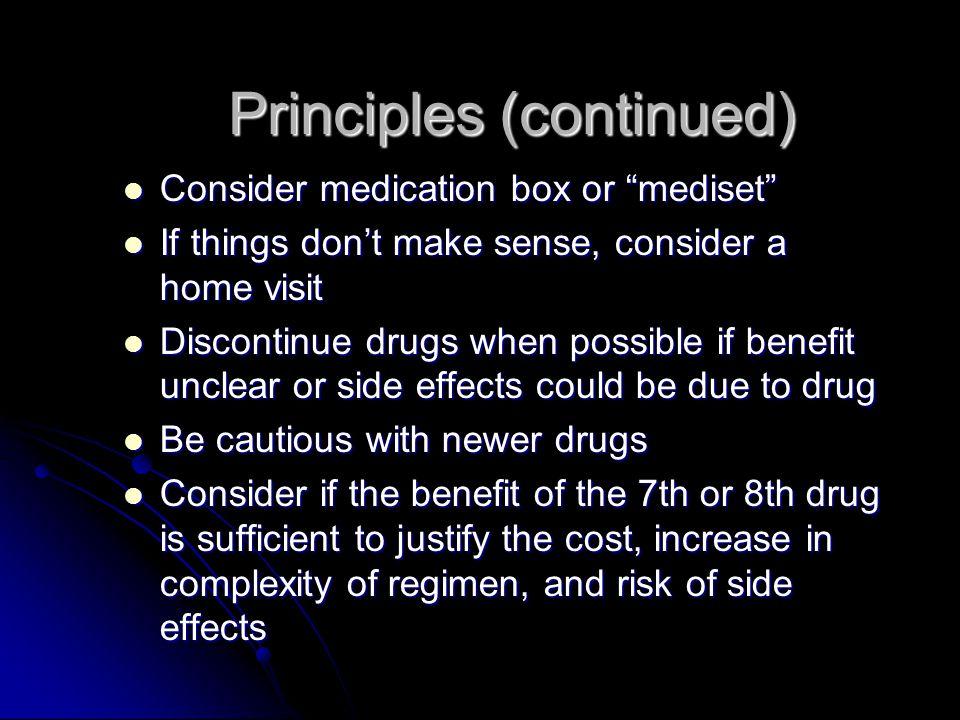 Principles (continued)