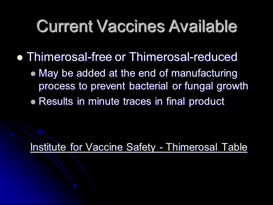 Current Vaccines Available