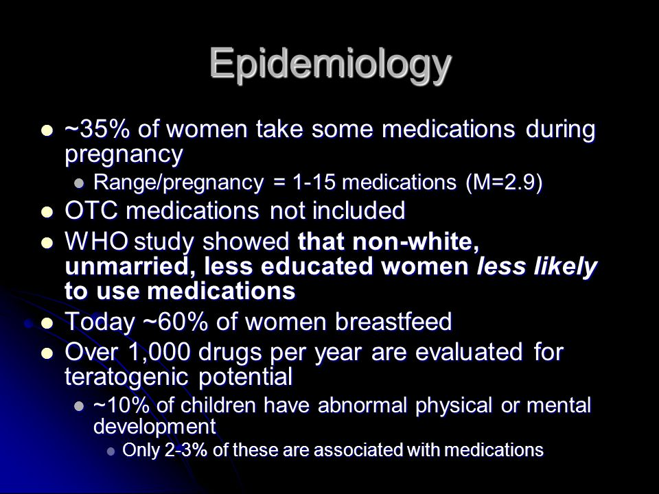 Epidemiology ~35% of women take some medications during pregnancy