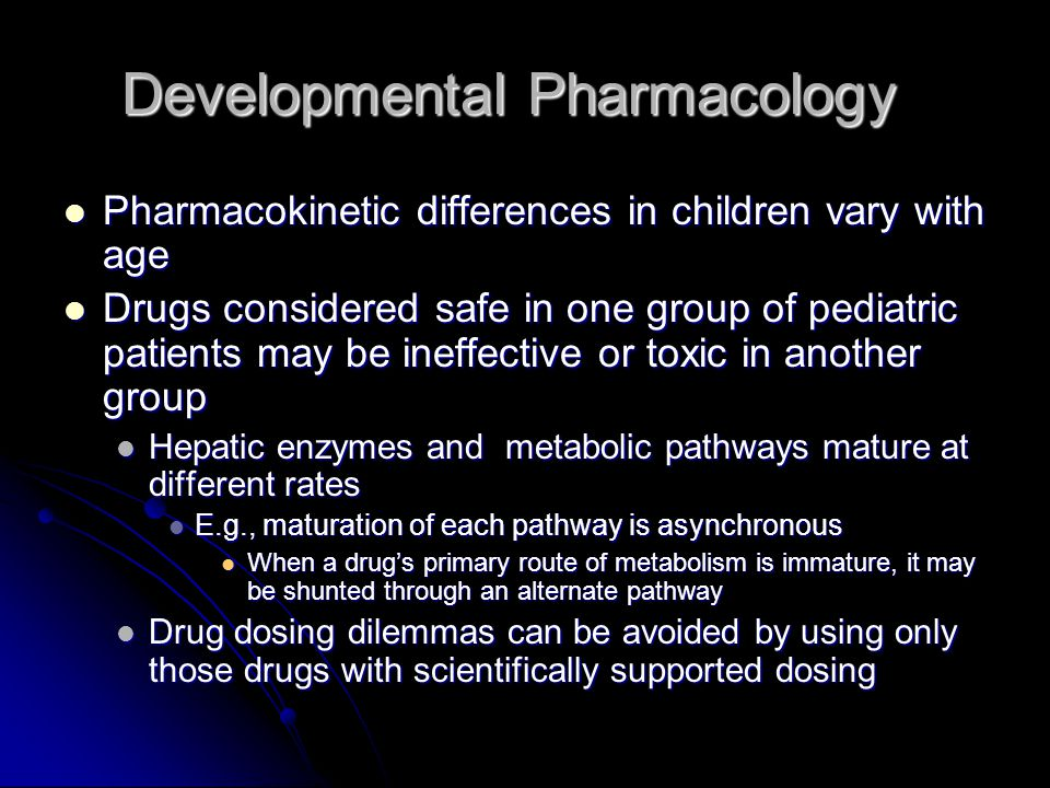 Developmental Pharmacology