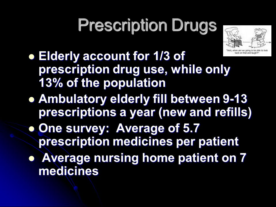 Prescription Drugs Elderly account for 1/3 of prescription drug use, while only 13% of the population.