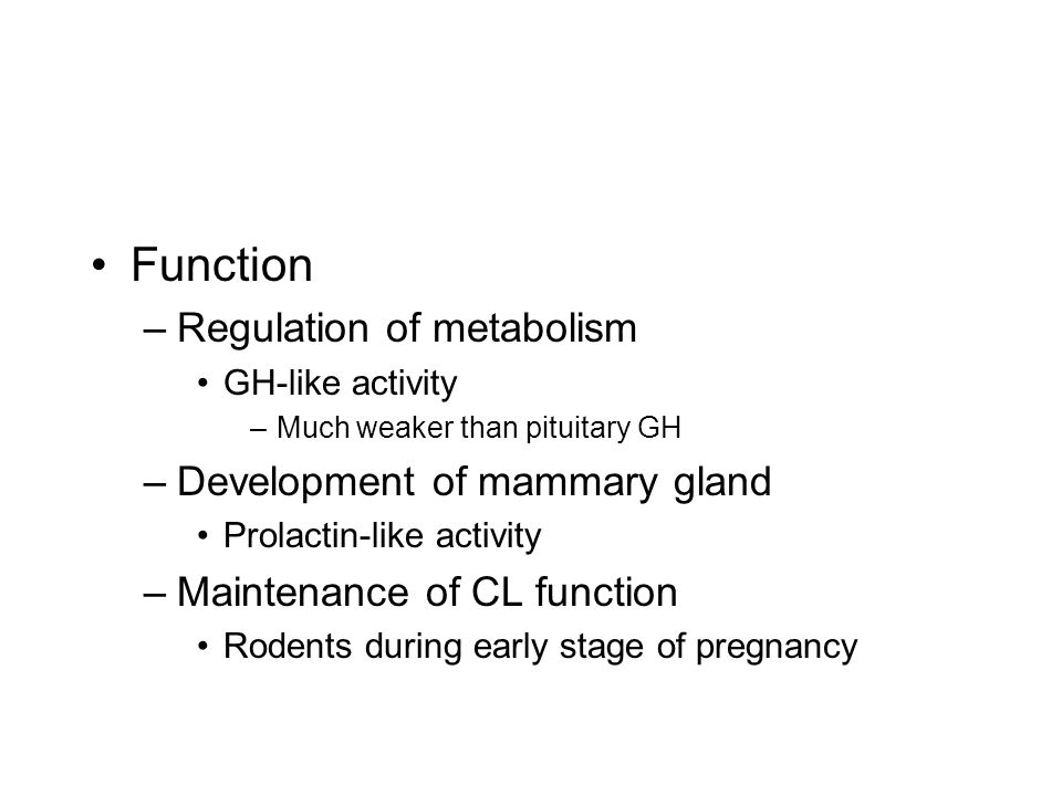 Function Regulation of metabolism Development of mammary gland